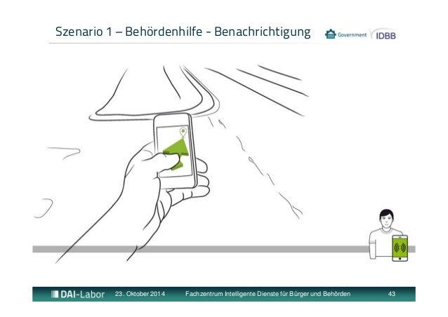 Szenario 1 – Behördenhilfe - Benachrichtigung  23. Oktober 2014 Fachzentrum Intelligente Dienste für Bürger und Behörden 4...