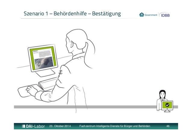 Szenario 1 – Behördenhilfe – Bestätigung  23. Oktober 2014 Fachzentrum Intelligente Dienste für Bürger und Behörden 46