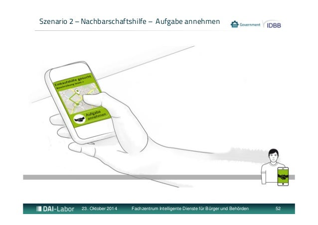 Szenario 2 – Nachbarschaftshilfe – Aufgabe annehmen  23. Oktober 2014 Fachzentrum Intelligente Dienste für Bürger und Behö...