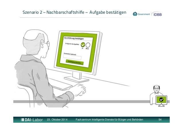 Szenario 2 – Nachbarschaftshilfe – Aufgabe bestätigen  23. Oktober 2014 Fachzentrum Intelligente Dienste für Bürger und Be...
