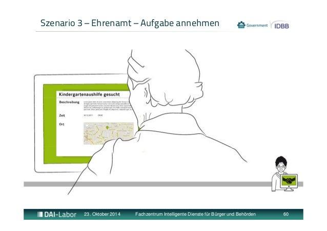 Szenario 3 – Ehrenamt – Aufgabe annehmen  23. Oktober 2014 Fachzentrum Intelligente Dienste für Bürger und Behörden 60