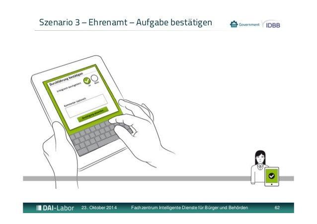 Szenario 3 – Ehrenamt – Aufgabe bestätigen  23. Oktober 2014 Fachzentrum Intelligente Dienste für Bürger und Behörden 62