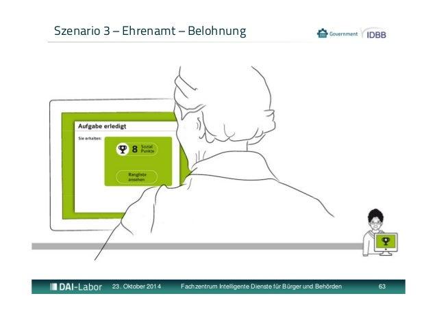 Szenario 3 – Ehrenamt – Belohnung  23. Oktober 2014 Fachzentrum Intelligente Dienste für Bürger und Behörden 63