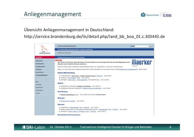 Anliegenmanagement  Übersicht Anliegenmanagement in Deutschland:  http://service.brandenburg.de/lis/detail.php/land_bb_boa...
