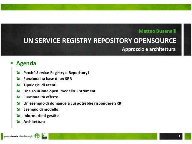  Agenda UN SERVICE REGISTRY REPOSITORY OPENSOURCE Matteo Busanelli  Perché Service Registry e Repository?  Funzionalità...