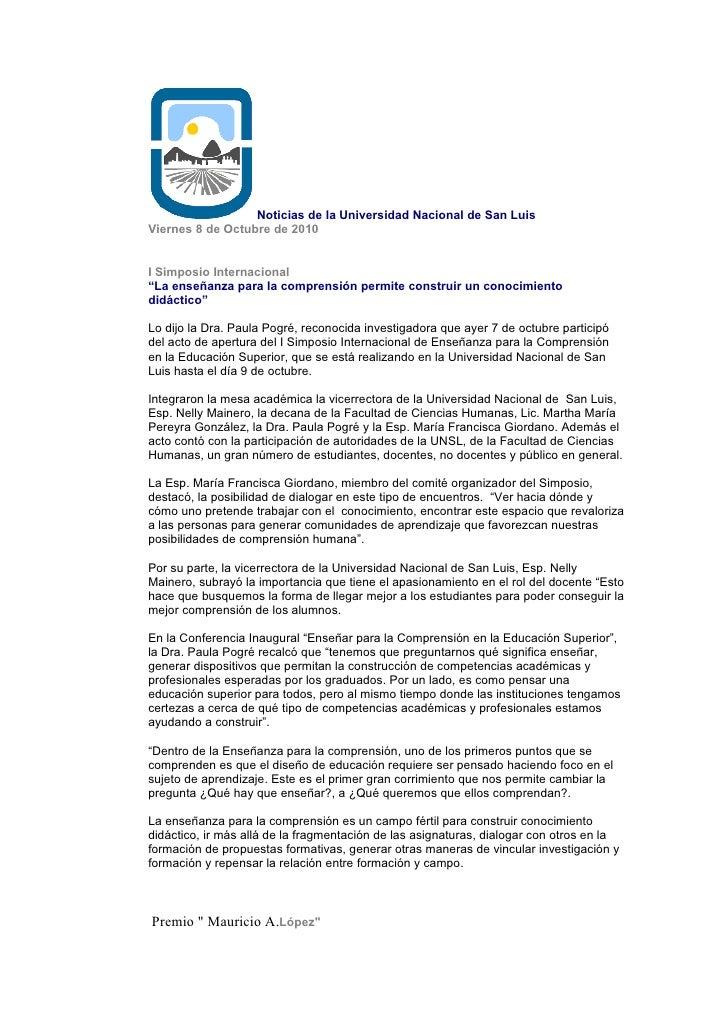 """Noticias de la Universidad Nacional de San Luis Viernes 8 de Octubre de 2010   I Simposio Internacional """"La enseñanza para..."""