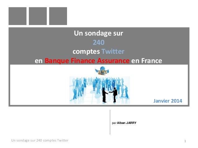 Un sondage sur 240 comptes Twitter en Banque Finance Assurance en France Un sondage sur 240 comptes Twitter 1 par Alban JA...