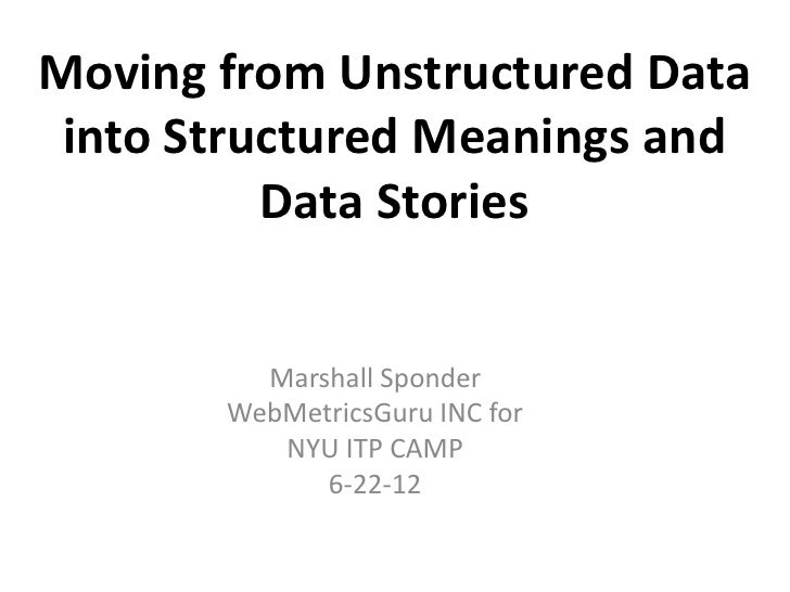 Moving from Unstructured Data into Structured Meanings and          Data Stories         Marshall Sponder       WebMetrics...
