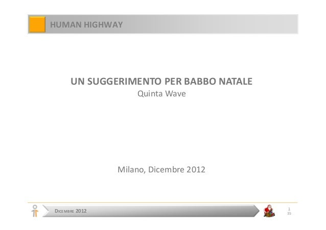 HUMAN HIGHWAY      UN SUGGERIMENTO PER BABBO NATALE                    Quinta Wave                Milano, Dicembre 2012   ...