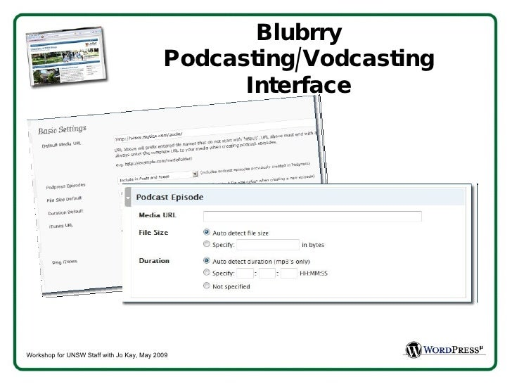 Blubrry Podcasting/Vodcasting Interface