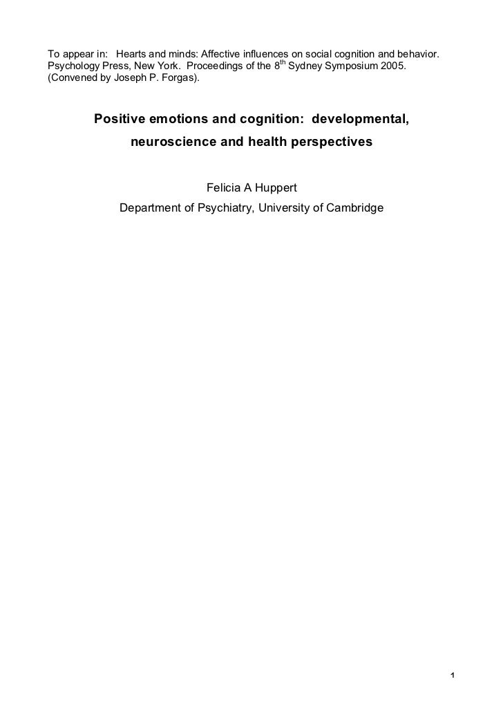 To appear in: Hearts and minds: Affective influences on social cognition and behavior.Psychology Press, New York. Proceedi...