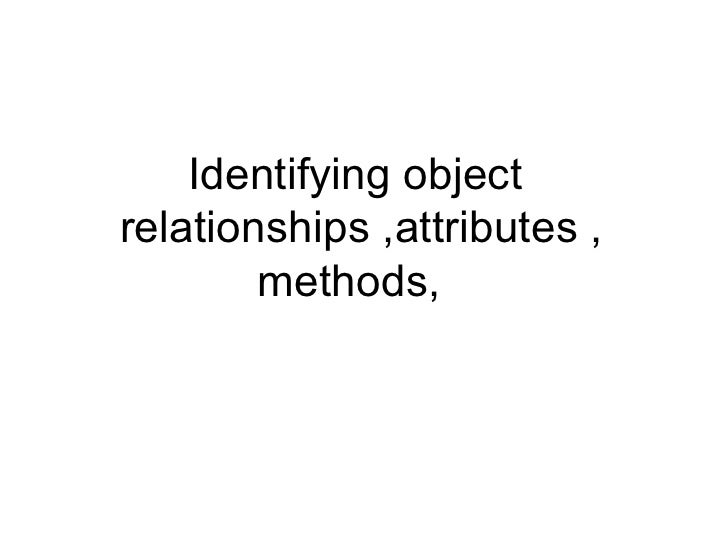 Identifying objectrelationships ,attributes ,        methods,
