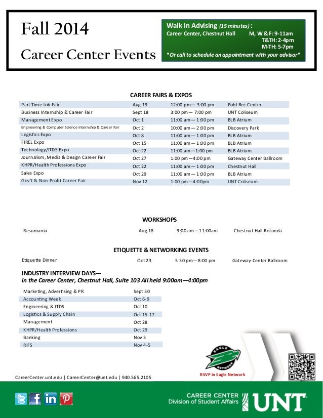 Fall 2014  Career Center Events  Part Time Job Fair  Business Internship & Career Fair  Management Expo  Engineering & Com...