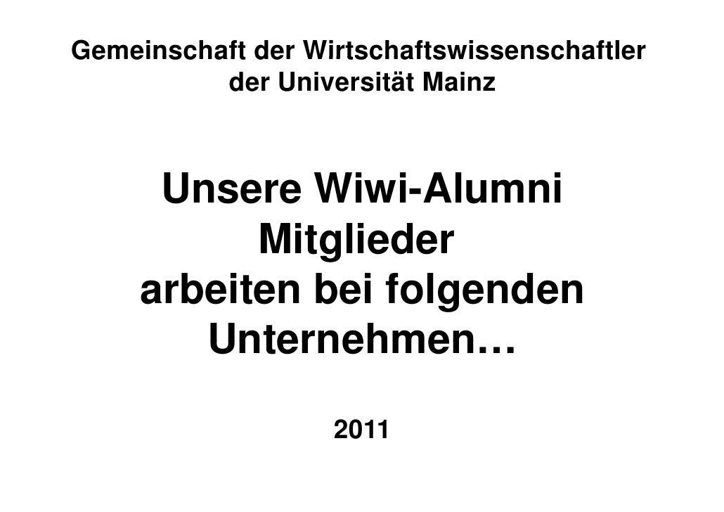 Gemeinschaft der Wirtschaftswissenschaftler          der Universität Mainz       Die Wiwi-Alumnis      der Universität Mai...