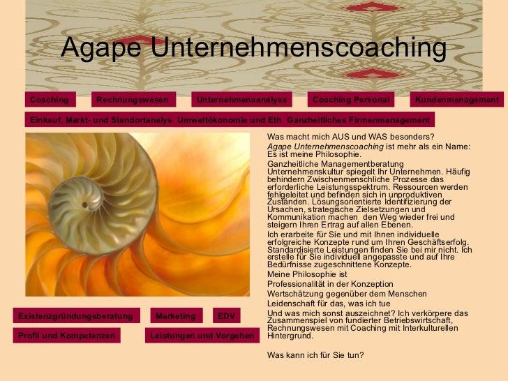 Agape Unternehmenscoaching <ul><li>Was macht mich AUS und WAS besonders? </li></ul><ul><li>Agape Unternehmenscoaching  ist...