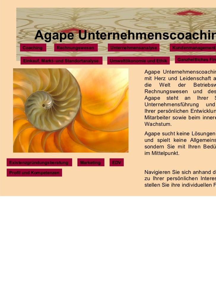 Agape Unternehmenscoaching     Coaching        Rechnungswesen         Unternehmensanalyse        Kundenmanagement      Ein...