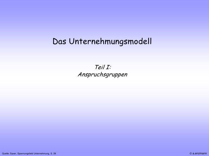 Das Unternehmungsmodell                                                        Teil I:                                    ...