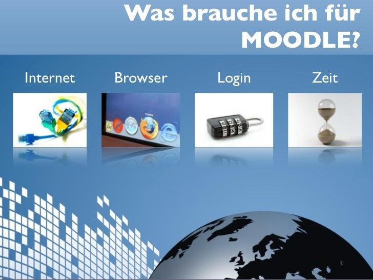 Was brauche ich für                    MOODLE?Internet   Browser   Login   Zeit