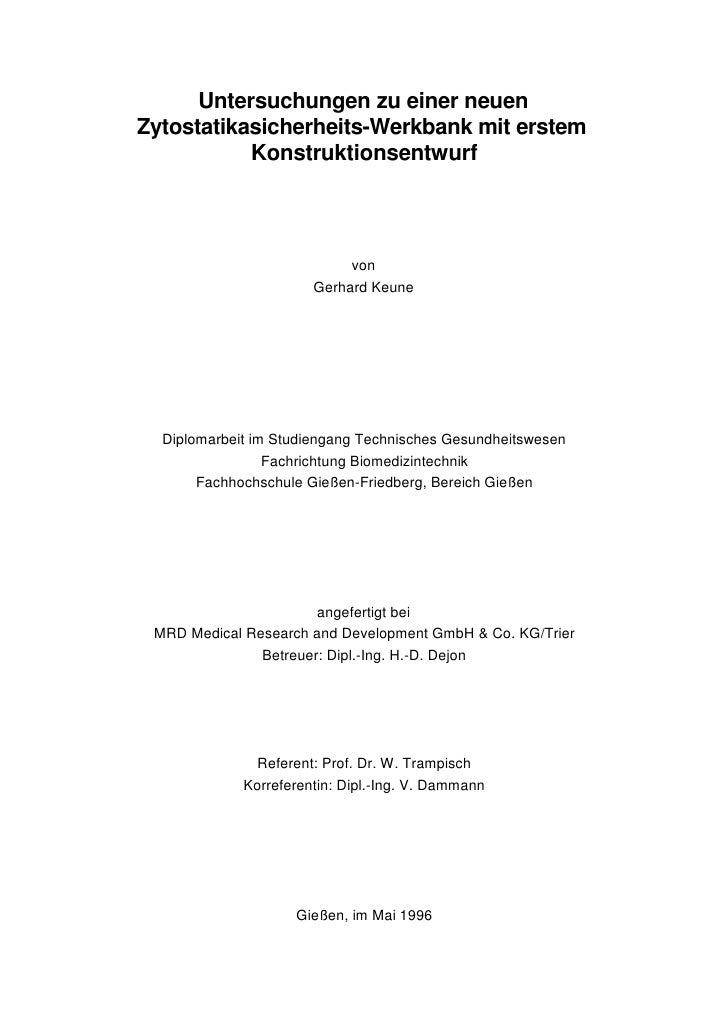 Untersuchungen zu einer neuen Zytostatikasicherheits-Werkbank mit erstem            Konstruktionsentwurf                  ...