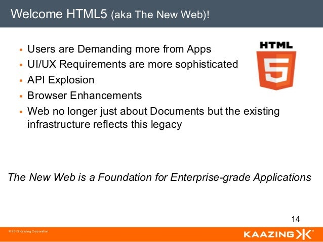 Welcome HTML5 (aka The New Web)!       §   Users are Demanding more from Apps       §   UI/UX Requirements are more so...
