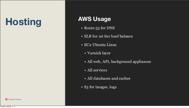 Hosting  AWS Usage • Route 53 for DNS • ELB for 1st tier load balance • EC2 Ubuntu Linux • Varnish layer • All web, API, b...