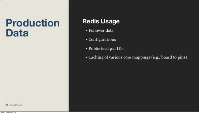 Production Data  Redis Usage • Follower data • Configurations • Public feed pin IDs • Caching of various core mappings (e....