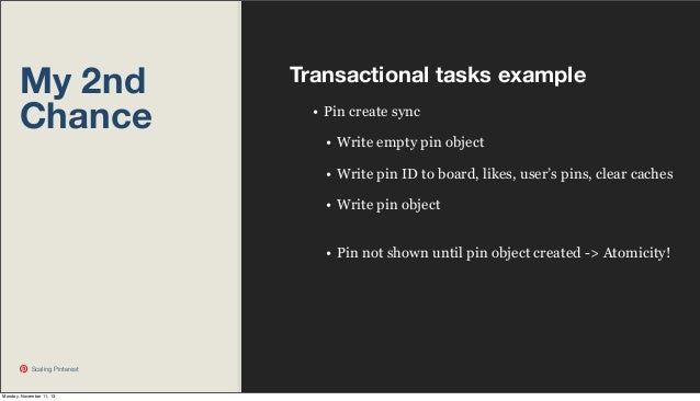 My 2nd Chance  Transactional tasks example • Pin create sync • Write empty pin object • Write pin ID to board, likes, user...