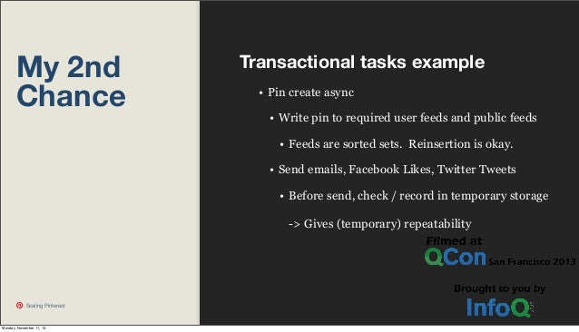 My 2nd Chance  Transactional tasks example • Pin create async • Write pin to required user feeds and public feeds • Feeds ...
