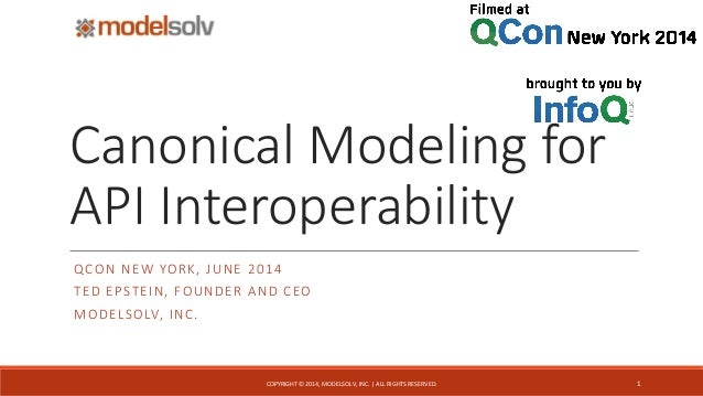 Canonical Modeling for API Interoperability QCON NEW YORK, JUNE 2014 TED EPSTEIN, FOUNDER AND CEO MODELSOLV, INC. 1COPYRIG...