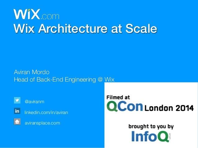 Wix Architecture at Scale  Aviran Mordo  Head of Back-End Engineering @ Wix  @aviranm  linkedin.com/in/aviran  aviransplac...