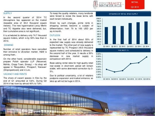 SUPPLY  In the second quarter of 2014 TC  Atmosphere has appeared on the market  (leasable area of 30.2 thousand square  m...