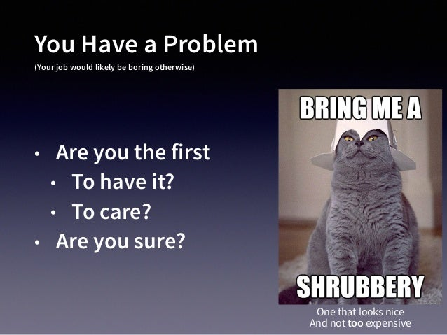You Have a Problem (Your job would likely be boring otherwise) • Are you the first • To have it? • To care? • Are you sure...