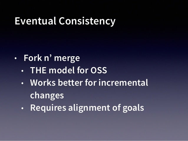 Eventual Consistency No Fork Required • Start With a New Idea • Eventually merge concepts