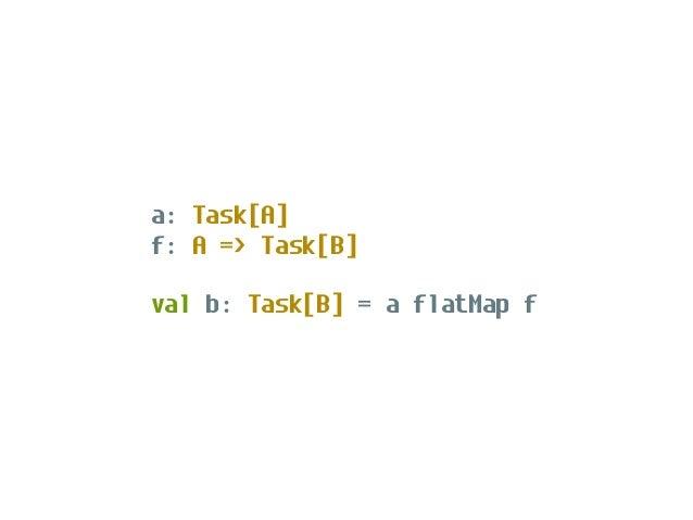 "val program: Task[Unit] = for { _ <- delay(println(""What's your name?"")) n <- delay(scala.io.StdIn.readLine) _ <- delay(pr..."