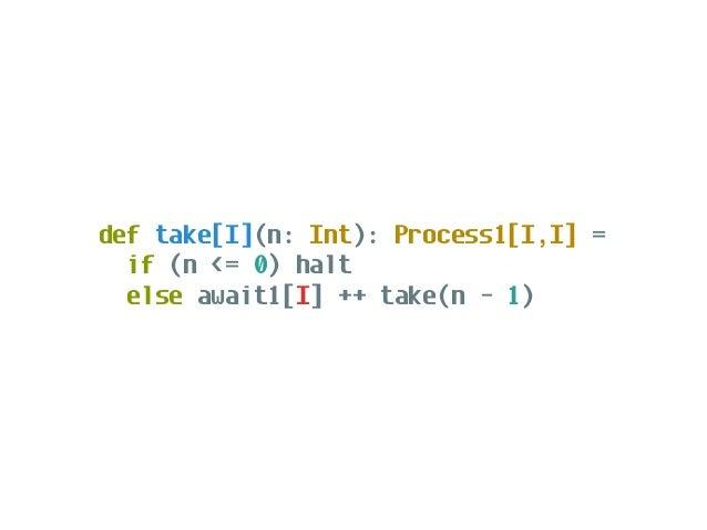def distinct[A]: Process1[A,A] = { def go(seen: Set[A]): Process1[A,A] = Process.await1[A].flatMap { a => if (seen(a)) go(...