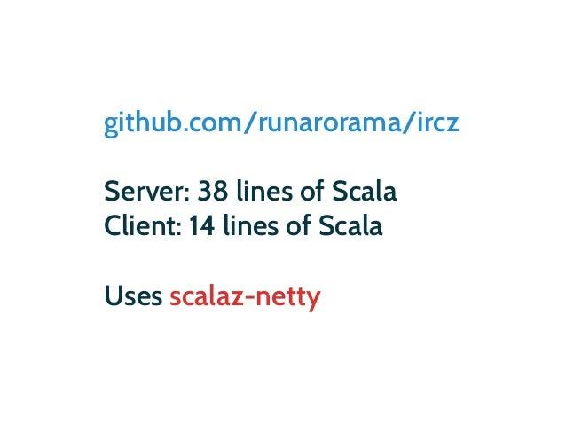 github.com/runarorama/ircz def serve(address: InetSocketAddress) = merge.mergeN { Netty serve address map { client => for ...