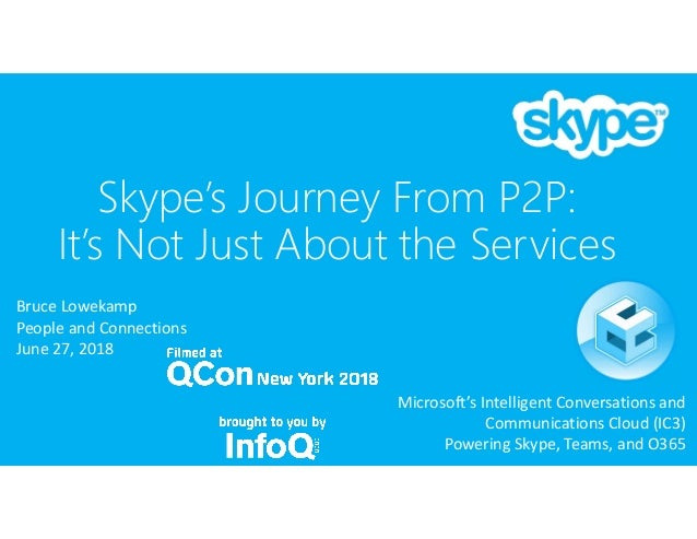Skype's Journey From P2P: It's Not Just About the Services Bruce Lowekamp People and Connections June 27, 2018 Microsoft's...