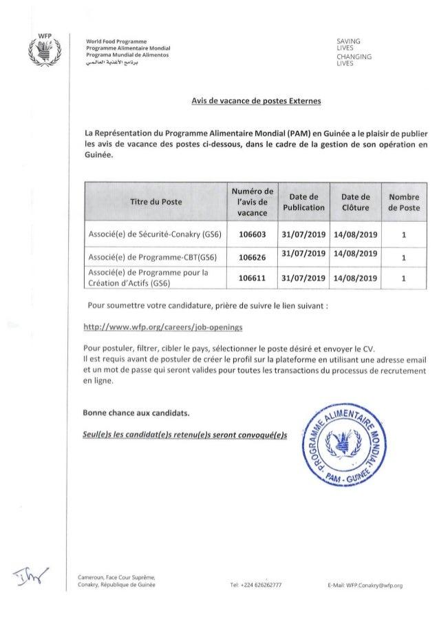 AVIS DE VACANCE DE POSTES AU PAM 31 07 02019