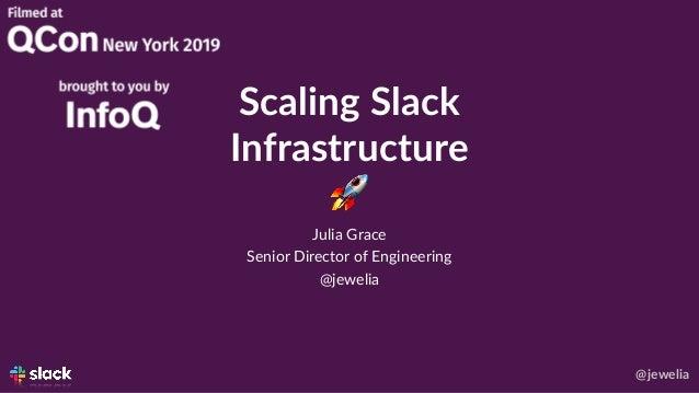 @jewelia Scaling Slack Infrastructure 🚀 Julia Grace Senior Director of Engineering @jewelia