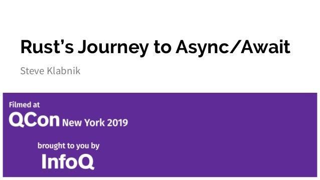 Rust's Journey to Async/Await Steve Klabnik