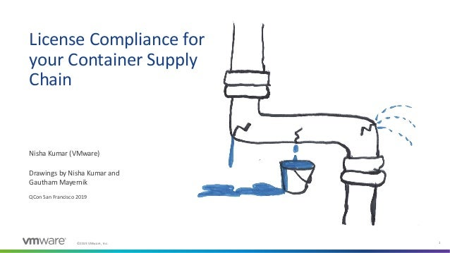 ©2019 VMware, Inc. 1 License Compliance for your Container Supply Chain Nisha Kumar (VMware) QCon San Francisco 2019 Drawi...