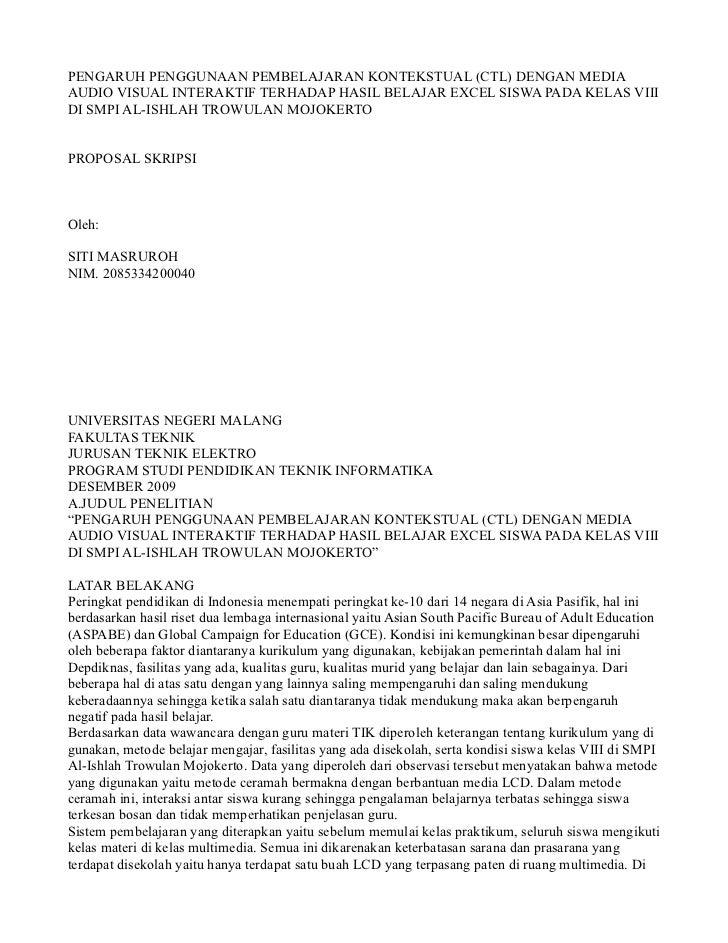 PENGARUH PENGGUNAAN PEMBELAJARAN KONTEKSTUAL (CTL) DENGAN MEDIAAUDIO VISUAL INTERAKTIF TERHADAP HASIL BELAJAR EXCEL SISWA ...