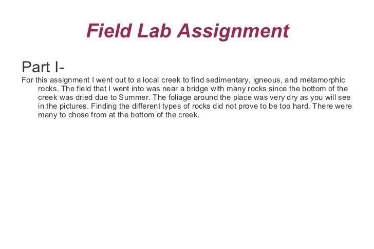 Field Lab Assignment <ul><li>Part I-