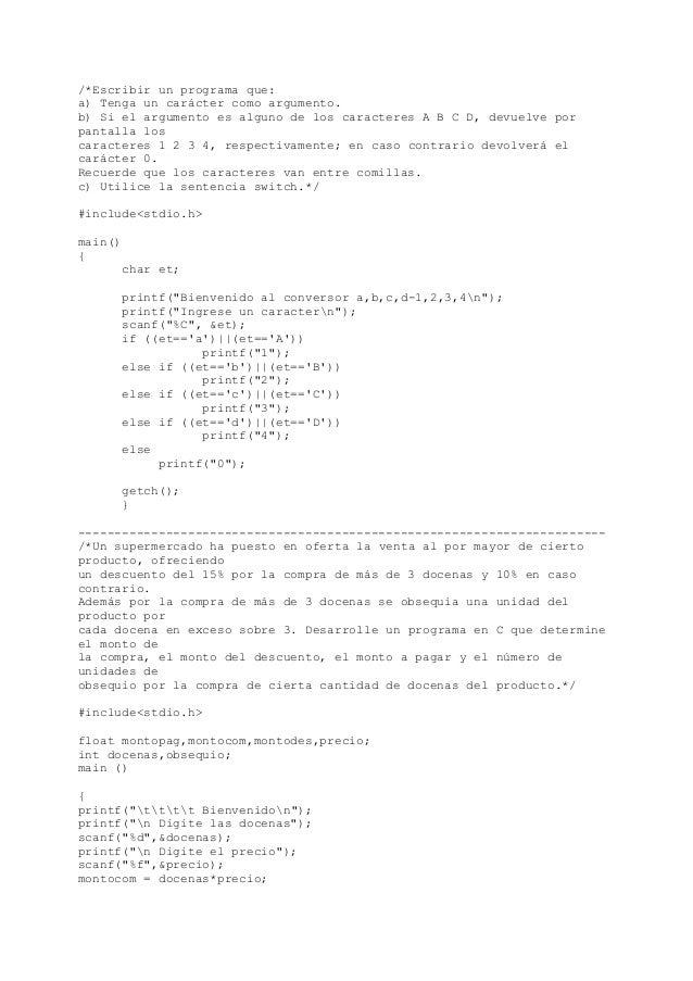 Ejercicios de programación en C (Estructuras condicionales-Selectivas) Slide 2