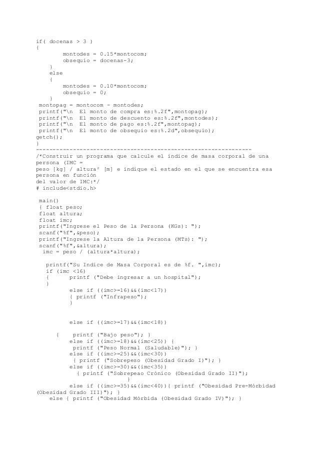 Ejercicios de programación en C (Estructuras condicionales-Selectivas) Slide 3