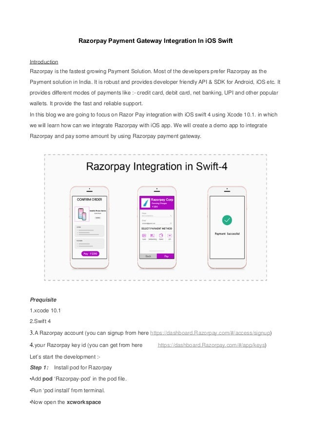 Razorpay Payment Gateway Integration In iOS Swift