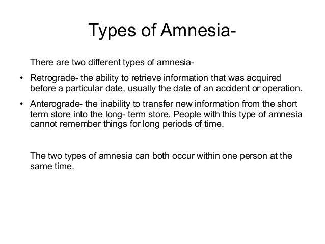 short term amnesia causes