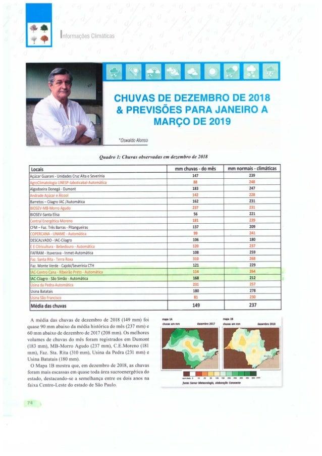 Chuvas de Dezembro de 2018 & Previsões para Janeiro a Março de 2019