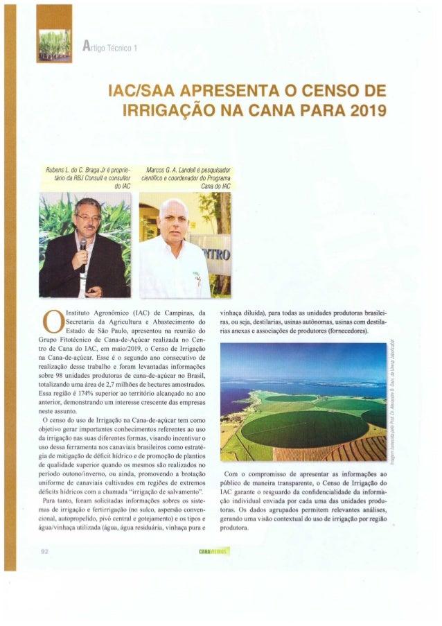 IAC/SAA apresenta o censo de irrigação na cana para 2019