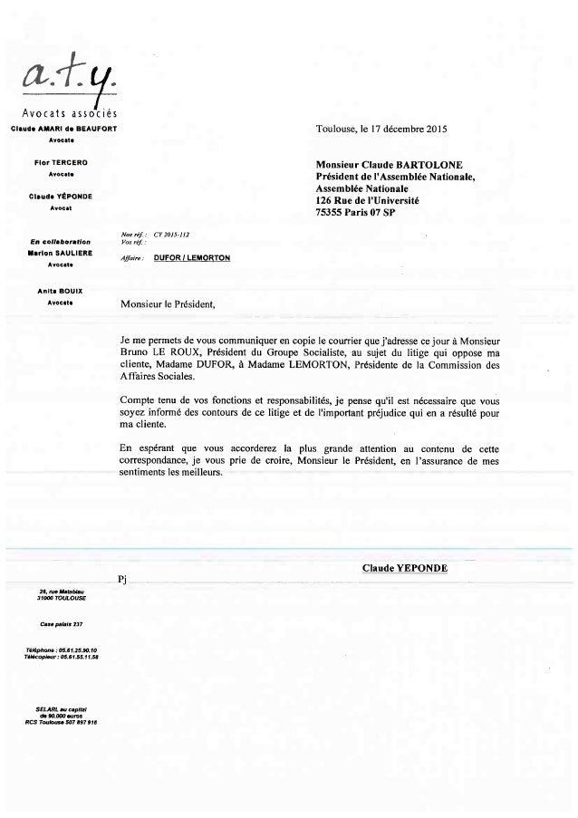 la lettre La lettre de l'avocat à Claude Bartelone la lettre